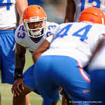 Florida Gators linebacker Jeremi Powell gets set during a blocking drill as the Gators continue fall practice.  August 8th, 2015.  Gator Country Photo.