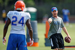 Florida Gators defensive backs coach Kirk Callahan coaching up Florida Gators defensive back Brian Poole as the Gators continue fall practice.  August 8th, 2015.  Gator Country Photo.