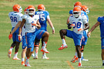 Florida Gators defensive back Vernon Hargreaves, III and Florida Gators defensive back Kerol Francois stretch out as the Gators continue fall practice.  August 8th, 2015.  Gator Country Photo.