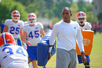 Florida Gators associate head coach Randy Shannon works with the linebackers during the third spring practice.  Florida Gators Third Spring Practice.  March 20th, 2016. Gator Country photo by David Bowie.