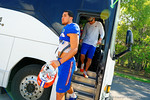 The Gators arrive on two buses for the third spring practice.  Florida Gators Third Spring Practice.  March 20th, 2016. Gator Country photo by David Bowie.