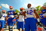 Florida Gators offensive lineman Roderick Johnson, Florida Gators defensive back Marcus Maye and Florida Gators defensive back Keanu Neal having a good time before entering the practice field.  Florida Gators Third Spring Practice.  March 20th, 2016. Gator Country photo by David Bowie.