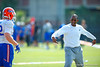 Florida Gators associate head coach Randy Shannon coaches up the linebackers.  Florida Gators Third Spring Practice.  March 20th, 2016. Gator Country photo by David Bowie.
