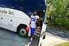 Florida Gators defensive back Marcus Maye steps off the bus and walks toward the practice field.  Florida Gators Third Spring Practice.  March 20th, 2016. Gator Country photo by David Bowie.