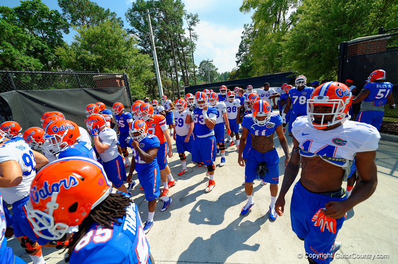 The Gators walk toward the practice field to start the third spring practice.  Florida Gators Third Spring Practice.  March 20th, 2016. Gator Country photo by David Bowie.