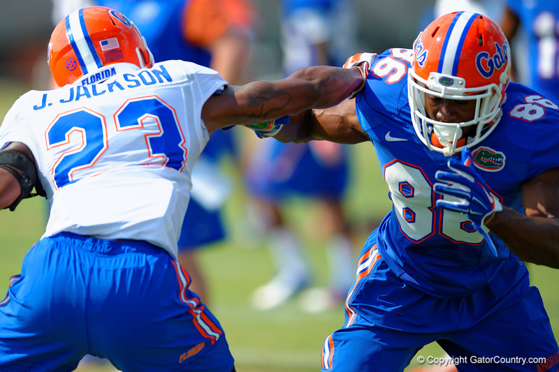 Florida Gators wide receiver Raphael Andrades sprints off the line to get by defensive back J.C. Jackson during a spring practice drill.  Florida Gators Third Spring Practice.  March 20th, 2016. Gator Country photo by David Bowie.