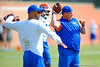 Florida Gators defensive coordinator Geoff Collins works with the defensive backs during the third spring football practice.  Florida Gators Third Spring Practice.  March 20th, 2016. Gator Country photo by David Bowie.