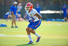 Florida Gators defensive back Jalen Tabor backs up into coverage during the third spring football practice.  Florida Gators Third Spring Practice.  March 20th, 2016. Gator Country photo by David Bowie.