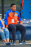 Florida Gators wide receiver recruit Isaiah Johnson watches on as the Gators run through their third spring practice.  Florida Gators Third Spring Practice.  March 20th, 2016. Gator Country photo by David Bowie.