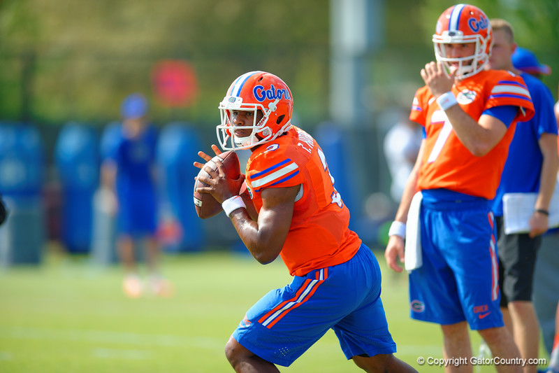 Florida Gators quarterback Treon Harris drops back to pass during a throwing drill.  Florida Gators Third Spring Practice.  March 20th, 2016. Gator Country photo by David Bowie.