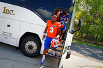Florida Gators quarterback Treon Harris steps off the bus and walks toward the practice field.  Florida Gators Third Spring Practice.  March 20th, 2016. Gator Country photo by David Bowie.