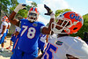 Florida Gators offensive lineman David Sharpe poses for the camera as he walks toward the practice field.  Florida Gators Third Spring Practice.  March 20th, 2016. Gator Country photo by David Bowie.