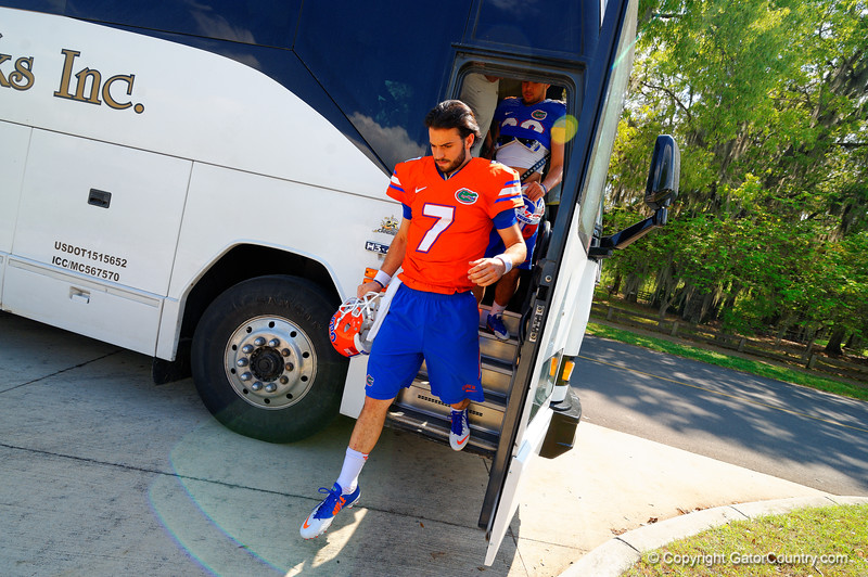 Florida Gators quarterback Will Grier steps off the bus and walks toward the practice field.  Florida Gators Third Spring Practice.  March 20th, 2016. Gator Country photo by David Bowie.