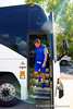 Florida Gators head coach Jim McElwain steps off the bus and walks toward the practice field.  Florida Gators Third Spring Practice.  March 20th, 2016. Gator Country photo by David Bowie.