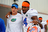 Florida Gators offensive coordinator and quarterbacks coach Doug Nussmeier and Florida Gators defensive end Alex McCalister walk up to the practice field for fall practice.  August 27th, 2015.  Gator Country Photo by David Bowie.
