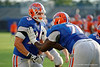 Florida Gators offensive lineman Matthew Fuchs and Florida Gators offensive lineman David Sharpe during a blocking drill.  August 27th, 2015.  Gator Country Photo by David Bowie.