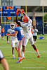 Florida Gators safety Duke Dawson leaps up for an interception during the Florida Gators open practice.  August 27th, 2015.  Gator Country Photo by David Bowie.