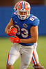 Florida Gators tight end Jake McGee rushes downfield after making a catch during the Florida Gators open practice.  August 27th, 2015.  Gator Country Photo by David Bowie.