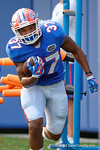 Florida Gators running back Mark Herndon runs through a running backs drill during the Florida Gators open practice.  August 27th, 2015.  Gator Country Photo by David Bowie.