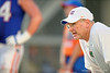 Florida Gators offensive line coach Mike Summers coaches up the offensive line during the Florida Gators open practice.  August 27th, 2015.  Gator Country Photo by David Bowie.