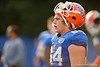 Florida Gators freshman offensive lineman Tyler Jordan gets some water and takes a breather during the Florida Gators open practice.  August 27th, 2015.  Gator Country Photo by David Bowie.