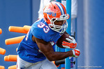 Florida Gators running back Tyriek Hopkins runs through a running backs drill during the Florida Gators open practice.  August 27th, 2015.  Gator Country Photo by David Bowie.
