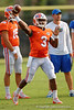 Florida Gators quarterback Treon Harris throws downfield during the Florida Gators open practice.  August 27th, 2015.  Gator Country Photo by David Bowie.