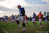 Florida Gators offensive line Antonio Riles and the Gators warm up during the Florida Gators open practice.  August 27th, 2015.  Gator Country Photo by David Bowie.