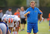 Florida Gators head coach Jim McElwain coaching up his Gators during the Florida Gators open practice.  August 27th, 2015.  Gator Country Photo by David Bowie.