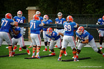 The Florida Gators offensive linemen run through blocking drills during the Florida Gators open practice.  August 27th, 2015.  Gator Country Photo by David Bowie.