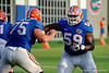 Florida Gators offensive linemen Mason Halter and T.J. McCoy compete in blocking drills during the Florida Gators open practice.  August 27th, 2015.  Gator Country Photo by David Bowie.
