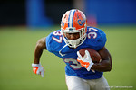 Florida Gators running back Mark Herndon sprints downfield during the Florida Gators open practice.  August 27th, 2015.  Gator Country Photo by David Bowie.