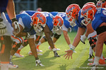 The Florida Gators offensive lineman line up during the Florida Gators open practice.  August 27th, 2015.  Gator Country Photo by David Bowie.