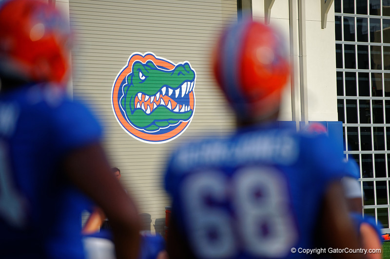 The Florida Gators logo on one of the indoor practice facilties doors during the Florida Gators open practice.  August 27th, 2015.  Gator Country Photo by David Bowie.
