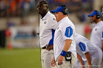 Florida Gators defensive coordinator Geoff Collins watches on during the second half, as the Gators spook the Georgia Bulldogs with a 27-3 win at EverBank Field.  October 31st, 2015. Gator Country photo by David Bowie.