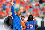 Former Florida Gators quarterback Chris Leak waves to the crowd as they announce his introduction into the Florida-Georgia Hall of Fame, as the Gators spook the Georgia Bulldogs with a 27-3 win at EverBank Field.  October 31st, 2015. Gator Country photo by David Bowie.