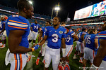 Florida Gators quarterback Treon Harris and the Gators celebrate as the Gators spook the Georgia Bulldogs with a 27-3 win at EverBank Field.  October 31st, 2015. Gator Country photo by David Bowie.
