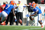 Florida Gators running back Brandon Powell fumbles the opening kickoff but is able to recover, as the Gators spook the Georgia Bulldogs with a 27-3 win at EverBank Field.  October 31st, 2015. Gator Country photo by David Bowie.