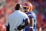 Florida Gators defensive end Alex McCalister gets some coaching from Florida Gators defensive line coach Chris Rumph during the first half as the Gators spook the Georgia Bulldogs with a 27-3 win at EverBank Field.  October 31st, 2015. Gator Country photo by David Bowie.