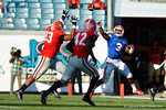 Florida Gators quarterback Treon Harris throws deep to Florida Gators wide receiver Antonio Callaway who makes the catch and sprints down the sideline into the endzone to put the Gators up 12-0 in the first half, as the Gators spook the Georgia Bulldogs with a 27-3 win at EverBank Field.  October 31st, 2015. Gator Country photo by David Bowie.