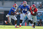 Florida Gators quarterback Treon Harris rushes downfield during the first half as the Gators spook the Georgia Bulldogs with a 27-3 win at EverBank Field.  October 31st, 2015. Gator Country photo by David Bowie.