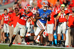 Florida Gators wide receiver Antonio Callaway catches a deep pass from Treon Harris and sprints down the sideline into the endzone during the first half as the Gators spook the Georgia Bulldogs with a 27-3 win at EverBank Field.  October 31st, 2015. Gator Country photo by David Bowie.