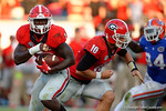 Georgia Bulldogs running back Sony Michel rushing during the second half, as the Gators spook the Georgia Bulldogs with a 27-3 win at EverBank Field.  October 31st, 2015. Gator Country photo by David Bowie.
