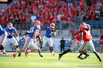 Florida Gators quarterback Treon Harris throwing during the first half as the Gators spook the Georgia Bulldogs with a 27-3 win at EverBank Field.  October 31st, 2015. Gator Country photo by David Bowie.