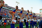 The Florida Gator cheerleaders cheer on for the crowd during the second half, as the Gators spook the Georgia Bulldogs with a 27-3 win at EverBank Field.  October 31st, 2015. Gator Country photo by David Bowie.