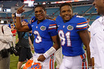 Florida Gators quarterback Treon Harris and Florida Gators wide receiver Antonio Callaway walk off the field as the Gators spook the Georgia Bulldogs with a 27-3 win at EverBank Field.  October 31st, 2015. Gator Country photo by David Bowie.