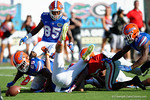 Georgia Bulldogs wide receiver Reggie Davis fumbles a punt and Florida Gators defensive back Nick Washington recovers in the endzone during the first half as the Gators spook the Georgia Bulldogs with a 27-3 win at EverBank Field.  October 31st, 2015. Gator Country photo by David Bowie.