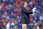University of Florida's band director Prof. Jay Watkins as the band takes the field before kickoff as the Gators spook the Georgia Bulldogs with a 27-3 win at EverBank Field.  October 31st, 2015. Gator Country photo by David Bowie.