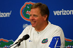 Florida Gators head coach Jim McElwain smiles proudly during post-game interviews as the Gators spook the Georgia Bulldogs with a 27-3 win at EverBank Field.  October 31st, 2015. Gator Country photo by David Bowie.