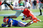 Florida Gators safety Duke Dawson makes a diving tackle on Georgia TE Jeb Blazevich in the first half, as the Gators spook the Georgia Bulldogs with a 27-3 win at EverBank Field.  October 31st, 2015. Gator Country photo by David Bowie.